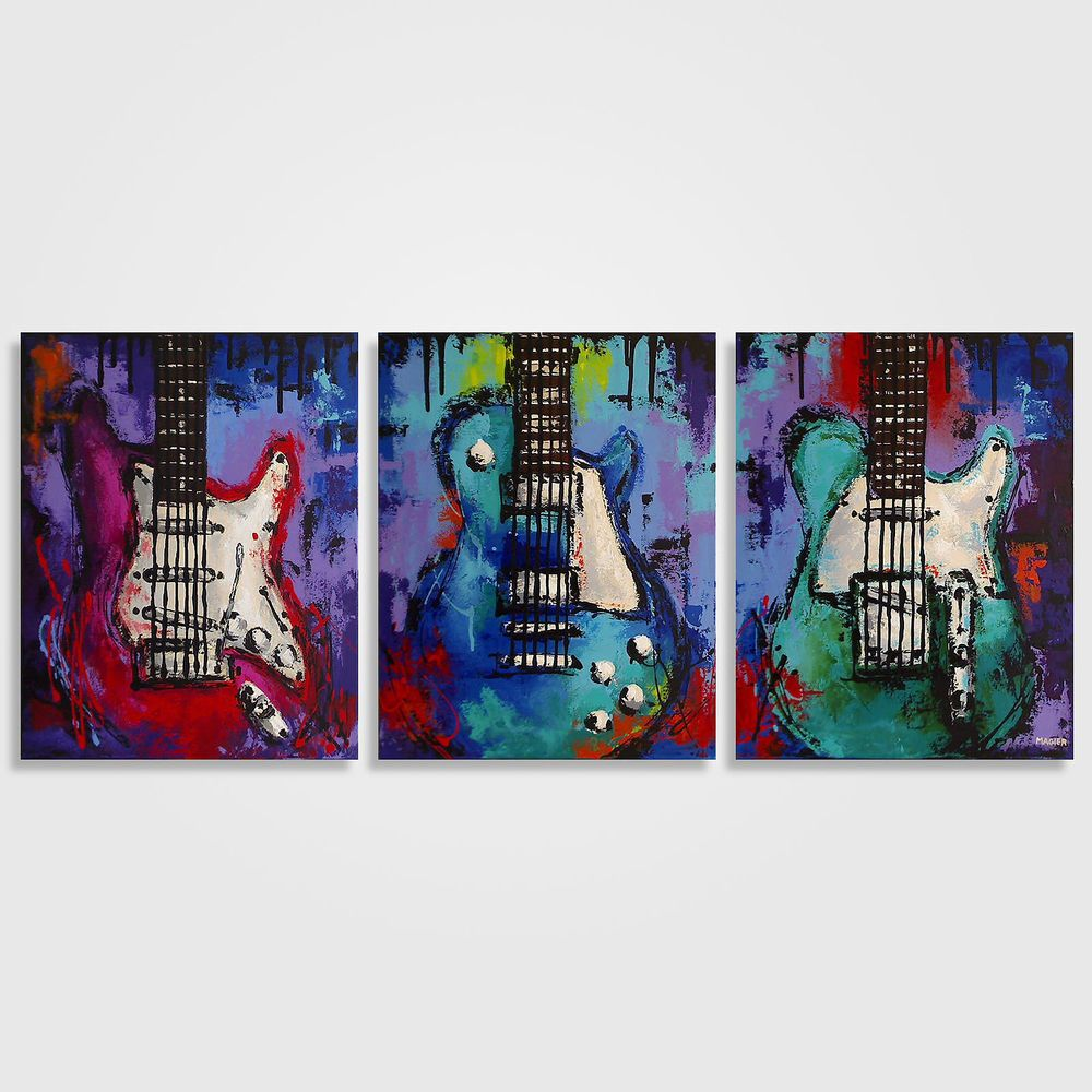 Guitar painting, Music art, Les Paul Colorful Guitar Painting on Canvas Triptych #Abstract