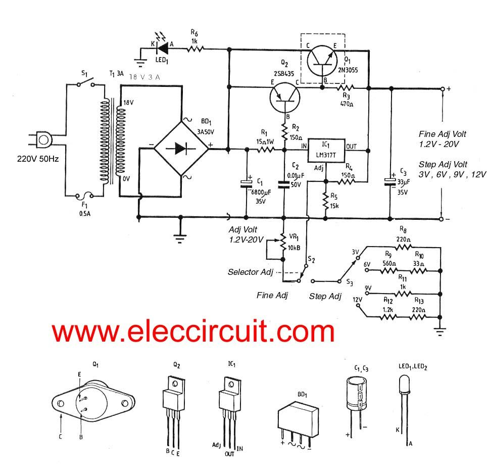 3a Adjustable Voltage Regulator Circuit With Pcb Eleccircuitcom Variable Dc Power Supply Electronic Diagram Electronics Projects Gadgets Diy Hobby