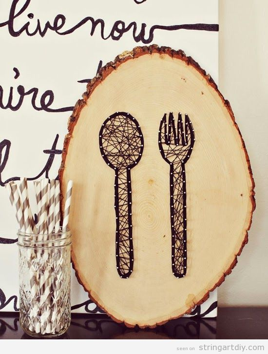Fork and spoon String Art on a trunk slice to decorate a restaurant ...