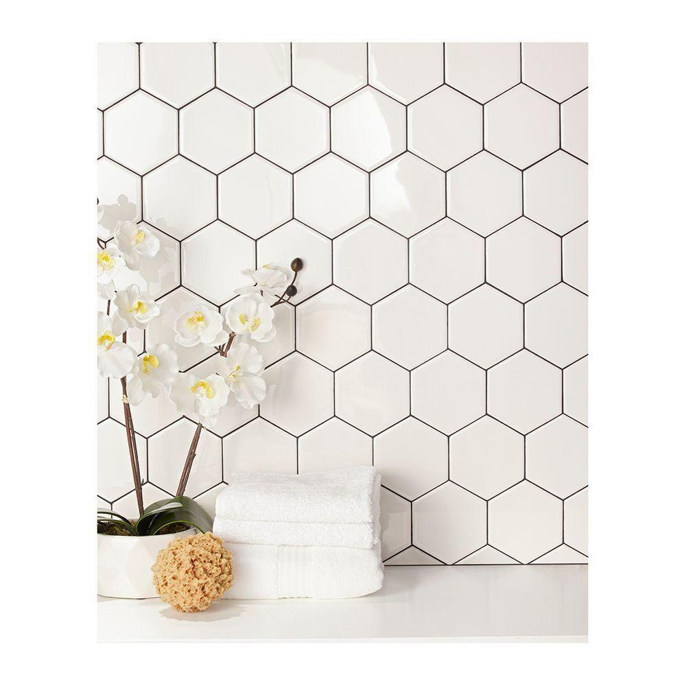 daltile semi gloss white hexagon 4 in x 4 in glazed ceramic wall rh pinterest com Jeff Lewis Tile Home Depot Hexagon Tile Floor