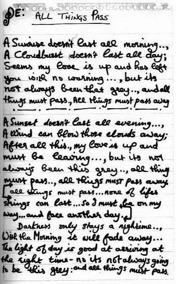 George Harrison's handwritten lyrics for what would become