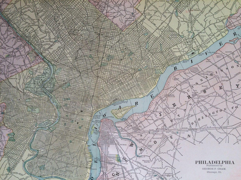 1901 PHILADELPHIA Large Original Antique Map, 22.5 x 14.5 inches ...