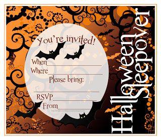 free printable halloween sleepover invitations