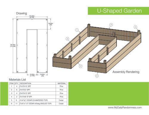 How to Build A U Shaped Raised Garden Bed Drawing and Rendering