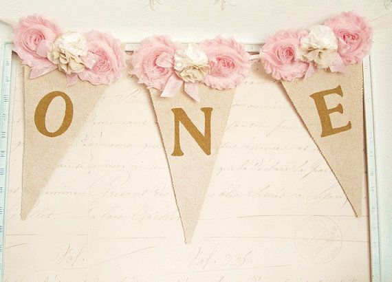 High Chair Banner, Pink and Gold Birthday, Shabby Chic Birthday, Girl 1st Birthday Decor, First Birthday Party Decorations, One Banner