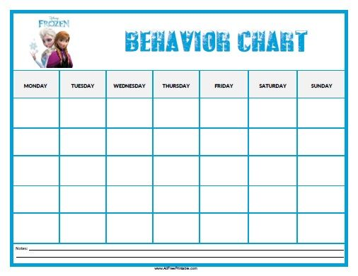 Free Printable Frozen Behavior Chart to motivate kids good – Kids Behavior Chart Template