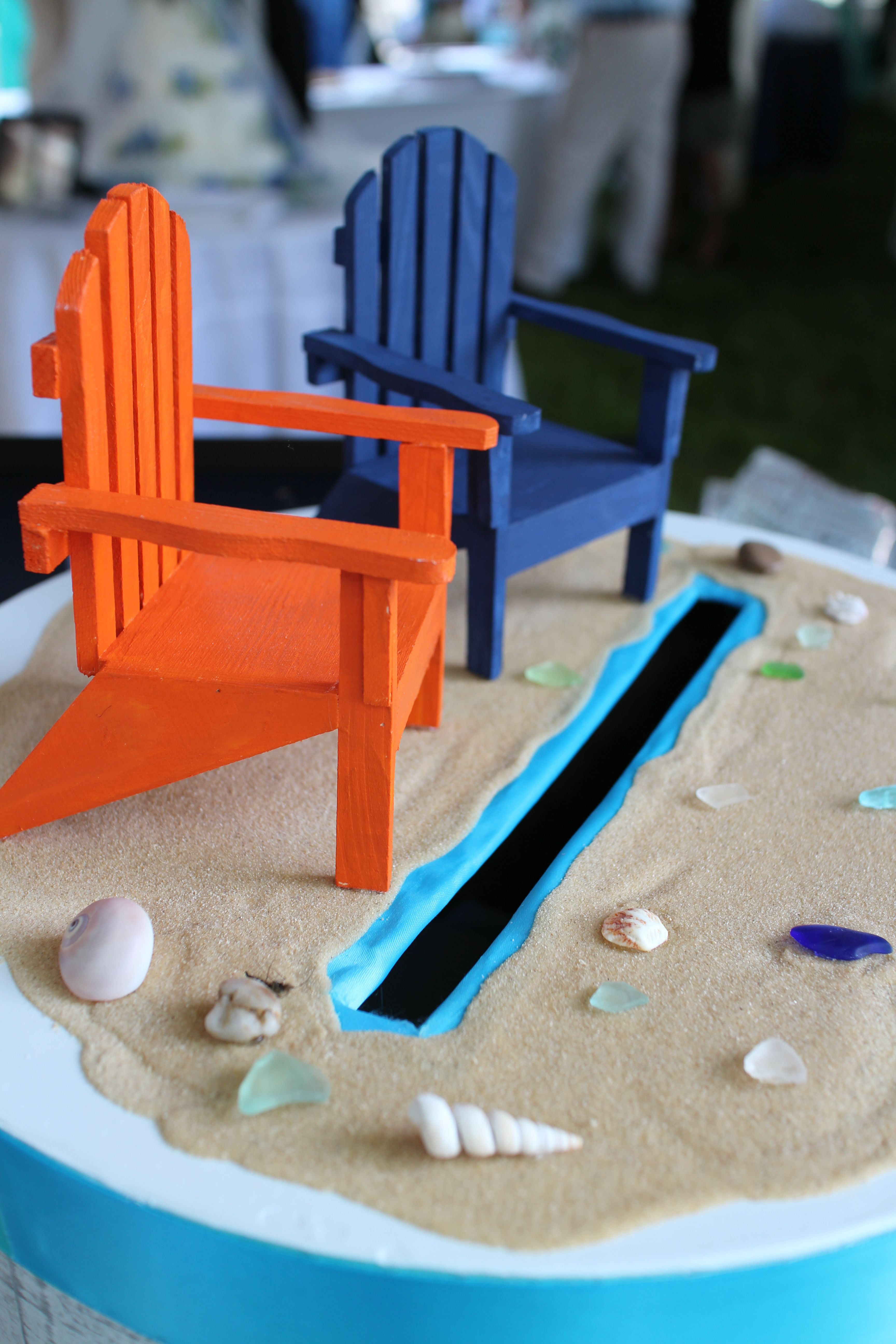 adirondack chair photo frame favors tommy bahama lounge beach wedding card box with sand glass shells and