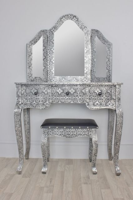 Gorgeous Blackened Silver Embossed Metal Desk Dressing Table And Stool, A  Blackened Silver Writing Desk Or Dressing Table And Stool.