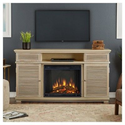 Cavallo Electric Fireplace Entertainment Center - Weathered White - Real Flame