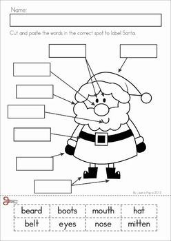 Christmas Math & Literacy Worksheets & Activities for Kindergarten. Lots of fun, interactive, no-prep pages for December. A page from the unit: Label Santa cut and paste