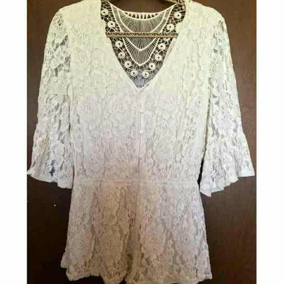 """Lace romper So adorable. This is a reposh. It was just a little too short for me. I am 5'6"""" so if you are 5'4"""" or shorter it would be perfect for you. So sad it didn't fit me! Dresses Mini"""