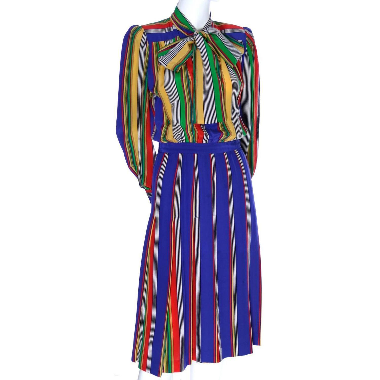4748dce335e 1970s Vintage YSL Rive Gauche Silk Dress Stripes Yves Saint Laurent Paris 36  Bow 6