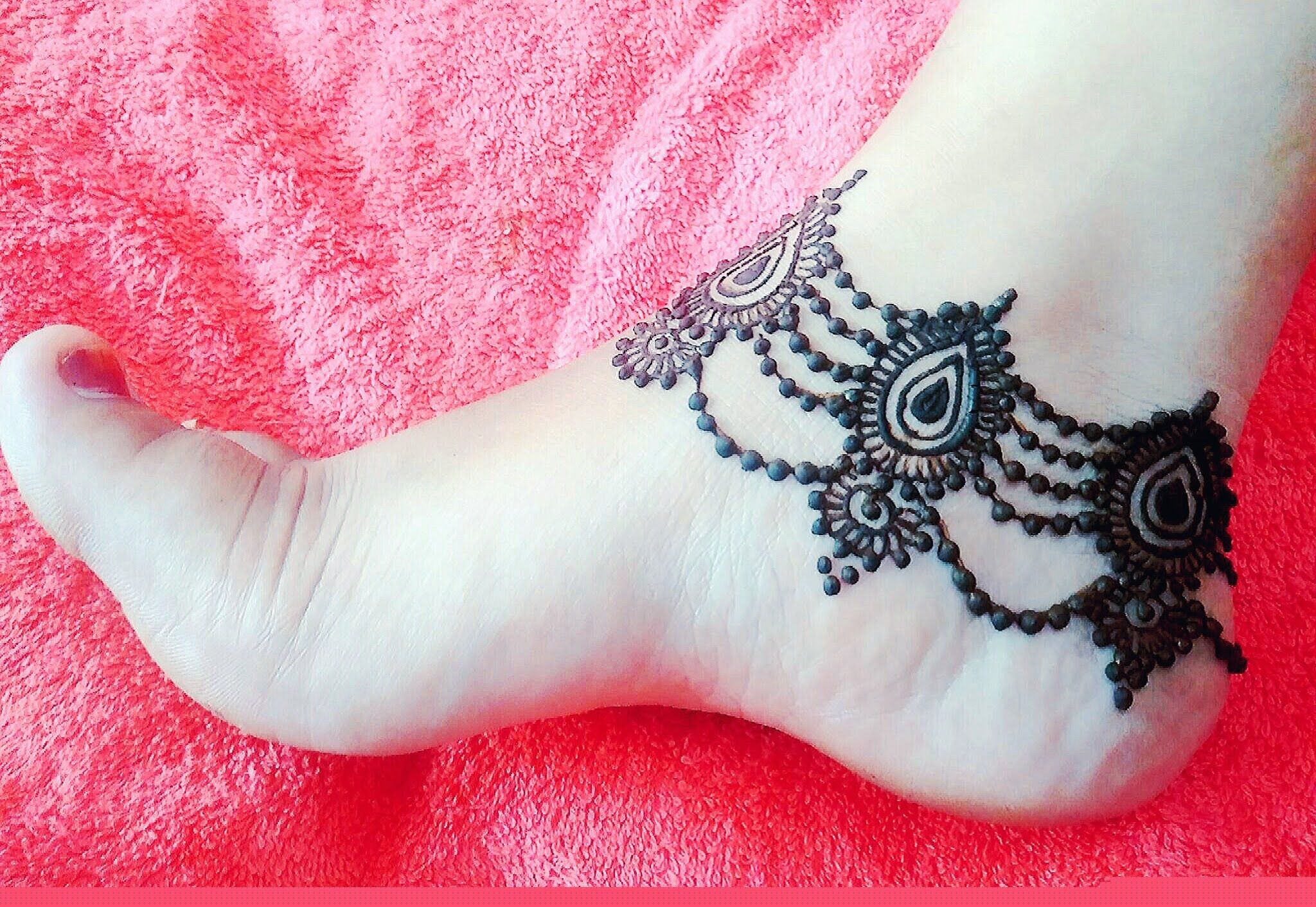 Beautiful Anklet Mehndi Design Payal Mehndi Pazeb Henna For Eid