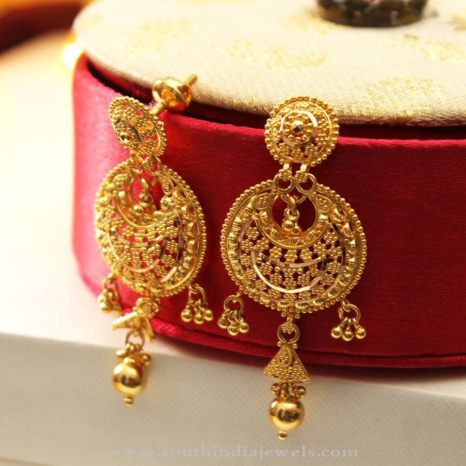 22K Big Plain Gold Earrings Stone Big and Gold