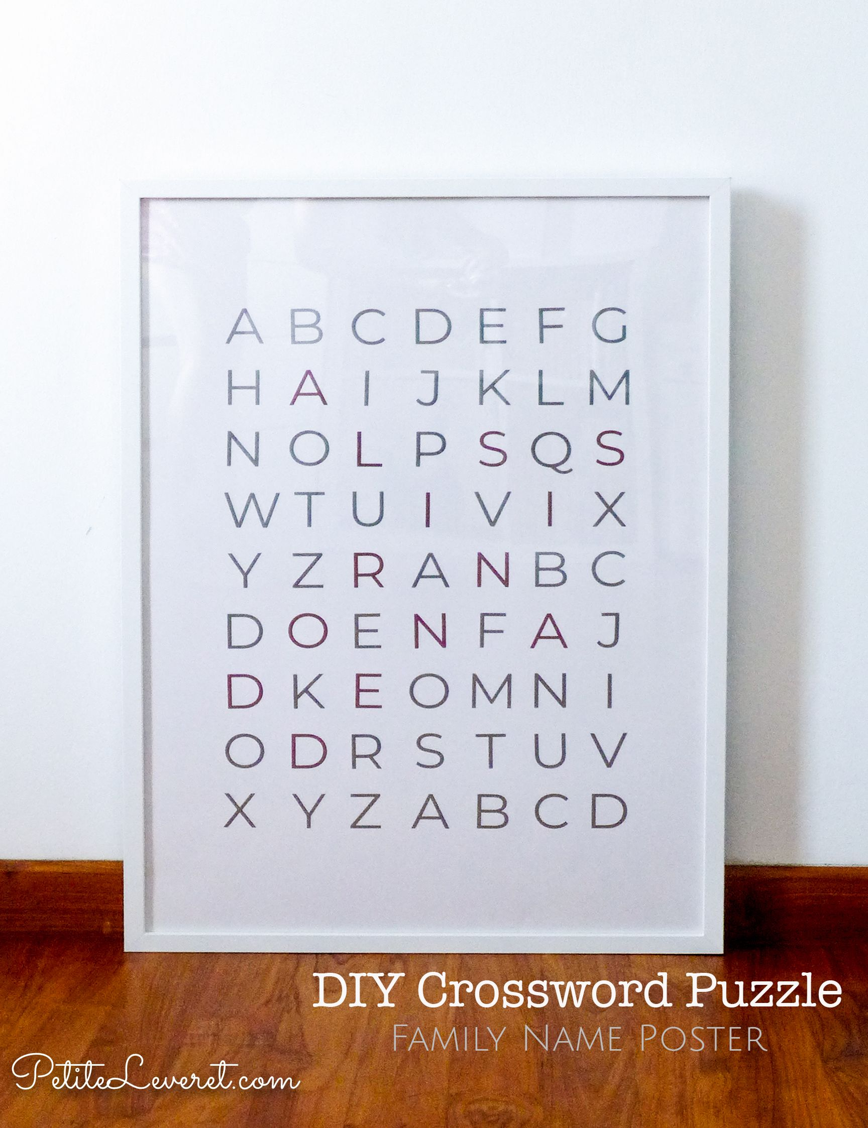 Diy Crossword Puzzle Family Name Poster Petite Leveret
