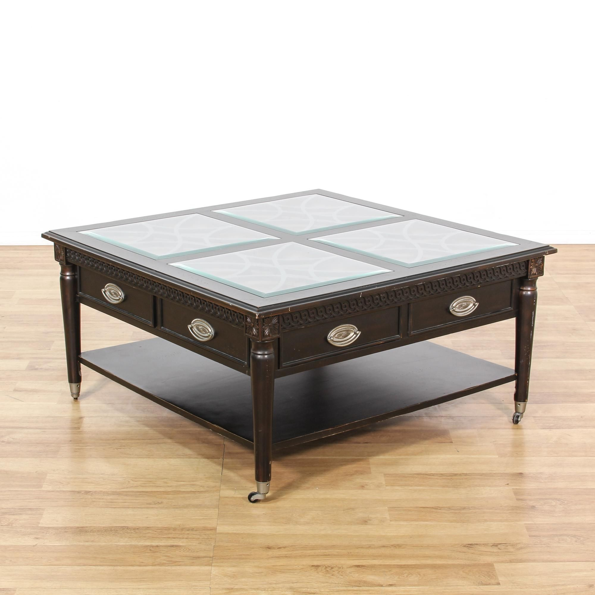 "This ""Aspenhome"" coffee table is featured in a solid wood with a"