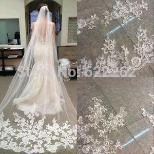 Bride Veils White Applique Tulle 3 meters veu de noiva long wedding veils bridal accessories lace bridal veil | Mas Barato