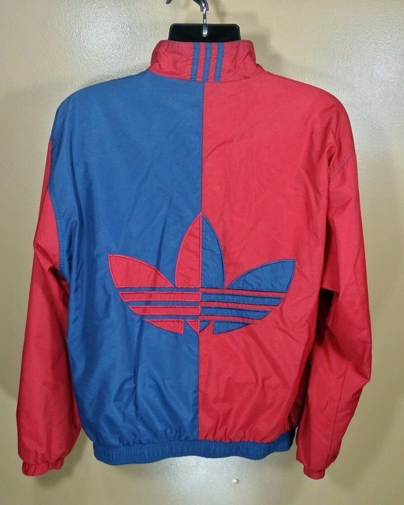 Adidas Zip up Wind Breaker Track Jacket Vintage Red Blue