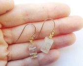 Gold plated braided wire wrapped rutilated quartz gemstone earrings // unique // crystal // gift for her