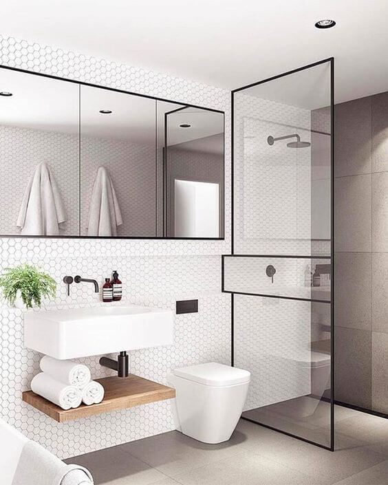 3D bathroom design showing simple modern bathroom vanity with white sink  and faucet dark framed square