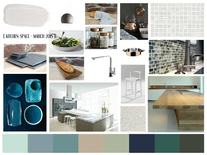 Kitchen Interior Moodboard Using Teals Aquas Sea Greens Navy Combined With Natural Elements