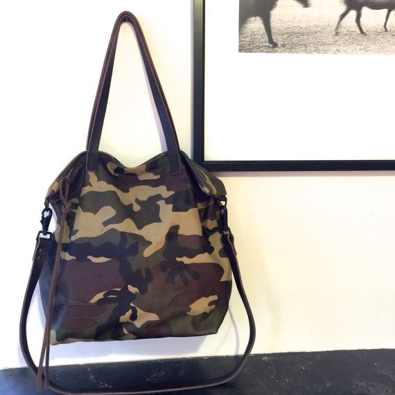 Large Camouflage Leather Tote Bag with zipper   Leather by sord