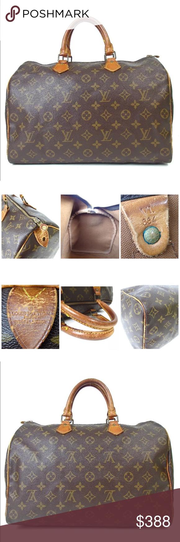 Auth Louis Vuitton Speedy 35 Boston Bag Vtg Louis