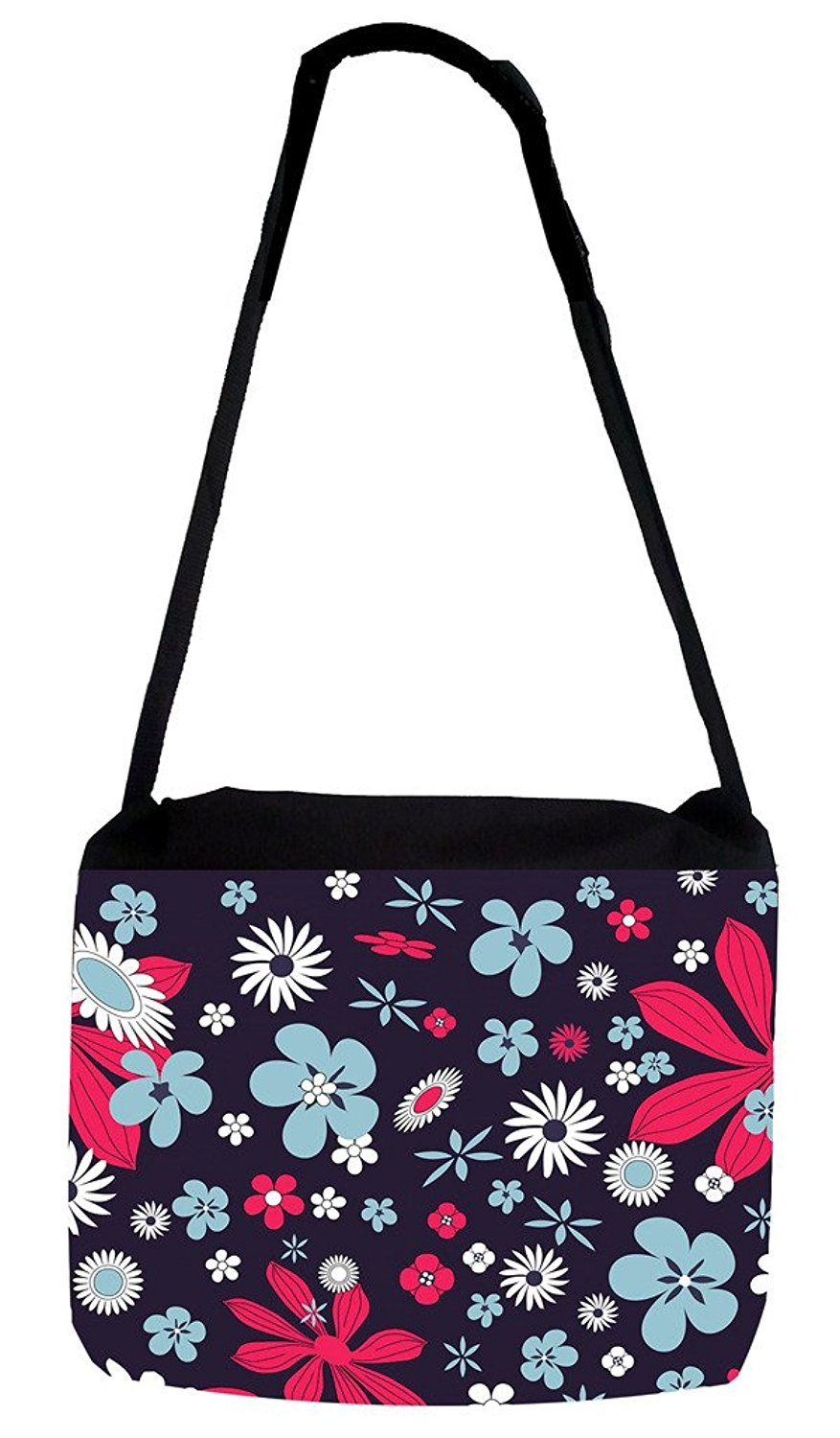 Dotty Flowers TM Medium Sized Messenger Bag 11.75 x 15.5 and 5 x 8 Pencil Case SET Rosie Parker Inc