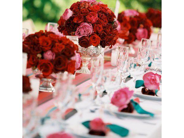 Arreglos de flores de color rosa y rojo para boda - Arreglos de flores para bodas ...
