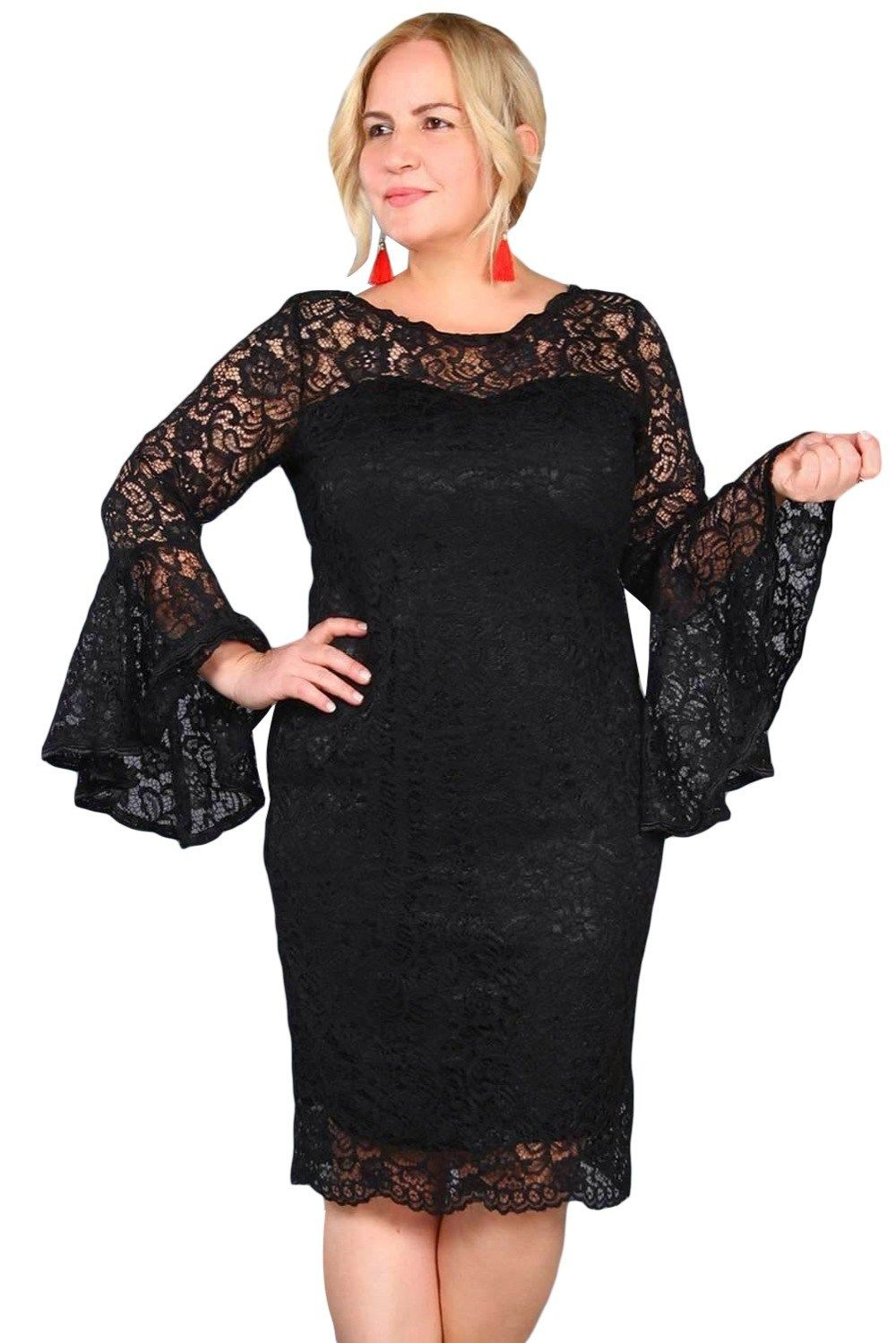 8f8dad31a65 Gosopin Plus Size Lace Dress Flared Sleeve 4xl Women Dress Elegant Midi  Autumn Spring Sexy Party Dresses Vestidos Mujer LC610501 free shipping  worldwide