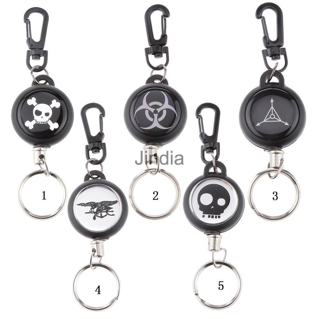Retractable Key Chain With Carabiner Recoil Wire Rope Badge Reel Split Ring  Gift 92f165c99a