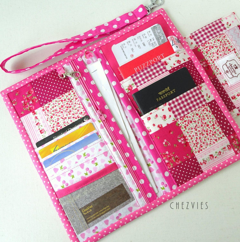 Rose pink family passport holder travel document for Family travel document organizer