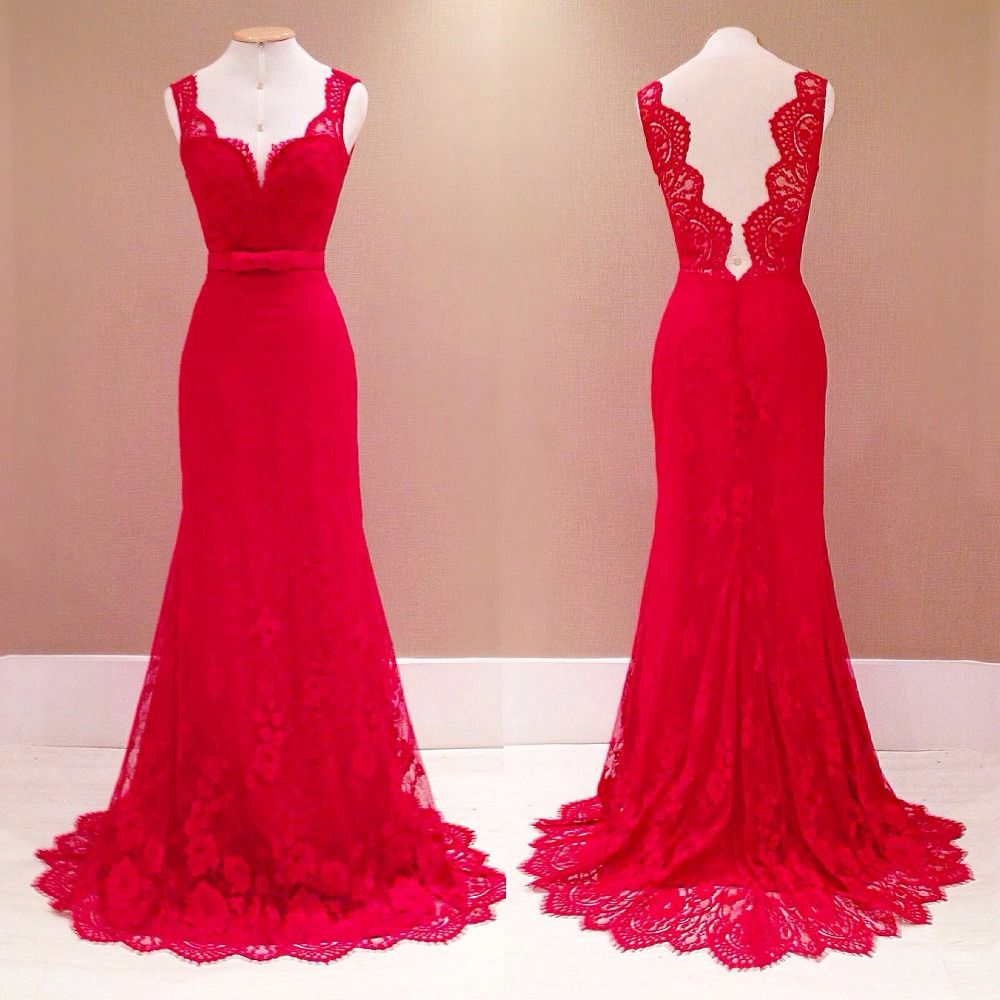 Sexy Long Evening Dress 2015 Free Shipping Red lace V-neck halter ...
