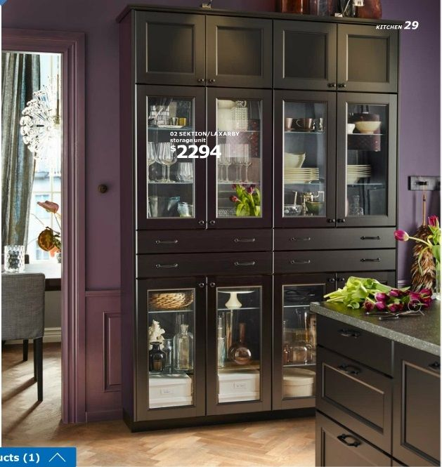 Black Kitchen Units Sale: Ikea 2016 SEKTION Wall Cabinets With LAXARBY Black-brown