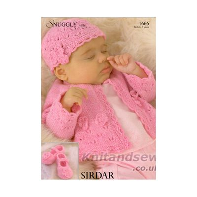 Sirdar Snuggly Baby 4ply Knitting Pattern 1666 Cardigan Hat And