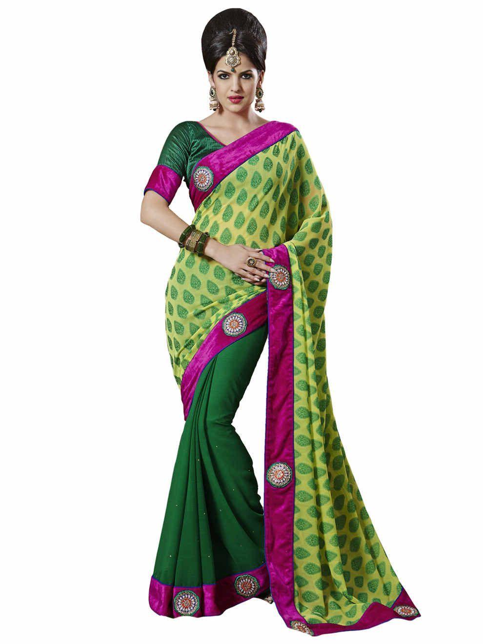 Melluha sensious green chiffon designer saree products