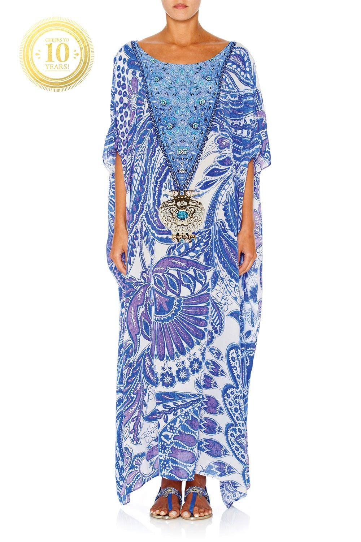 CAMILLA - PORCELAIN 10YR LTD ROUND NECK KAFTAN - Dresses - Shop