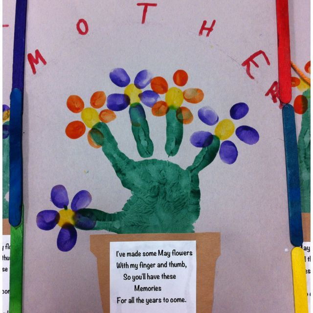 Handprint pot fingerprint flowers handprint flowerpot for Mothers day preschool crafts