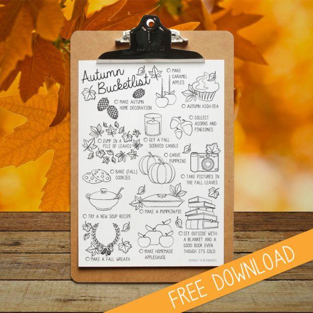 Autumn Bucketlist printable by Oktoberdots