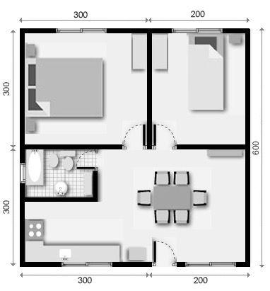 2 plano de casa 2 dormitorios casa pinterest planos for Planos de casas economicas de 3 dormitorios