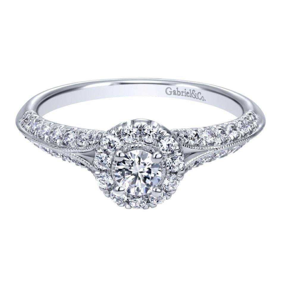 Gabriel & Co 14K White Gold 0.41 ct Diamond Criss Cross Engagement Ring Setting ER10936W44JJ