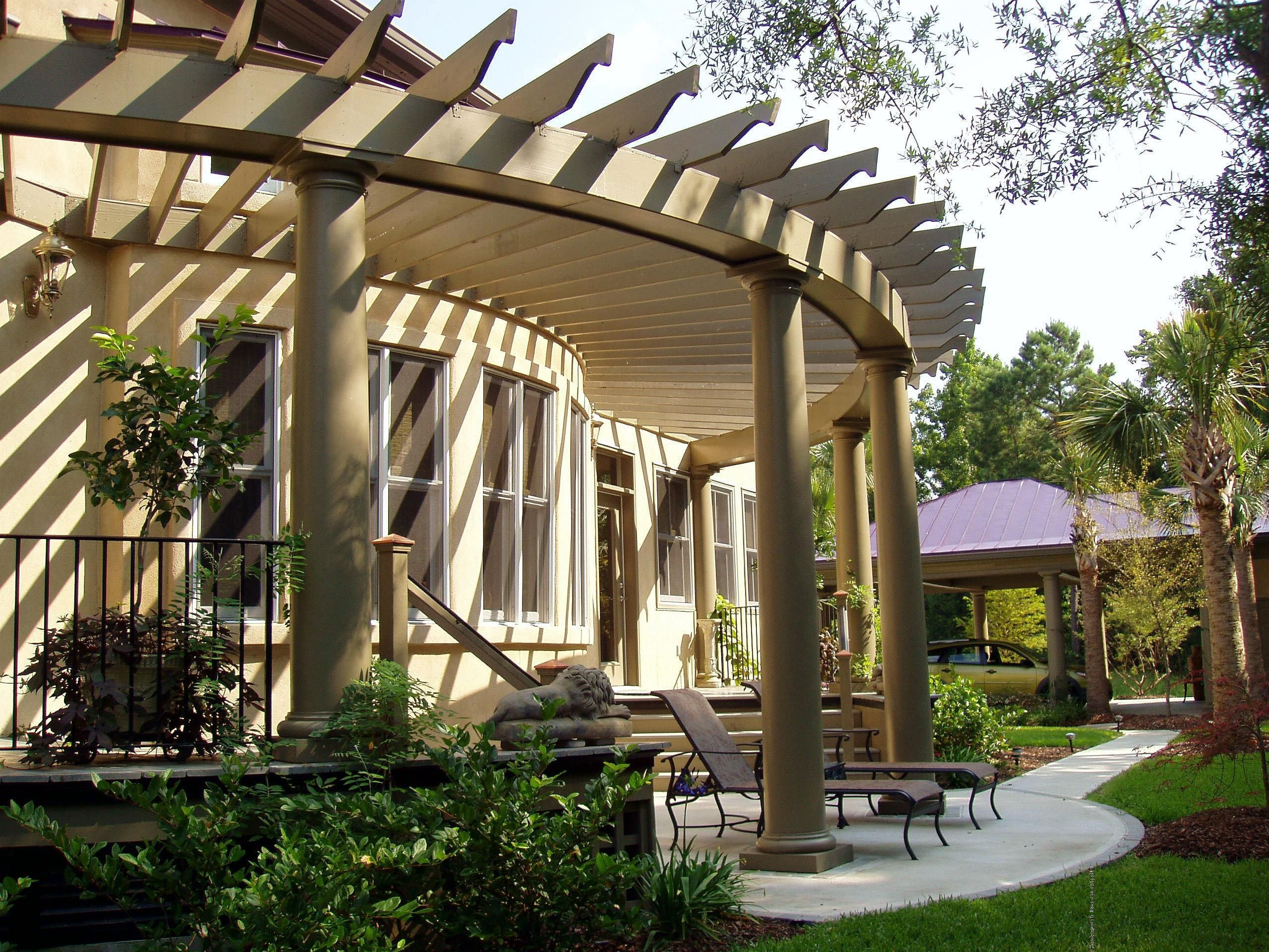 curved pergola with a curved porch dream home. Black Bedroom Furniture Sets. Home Design Ideas