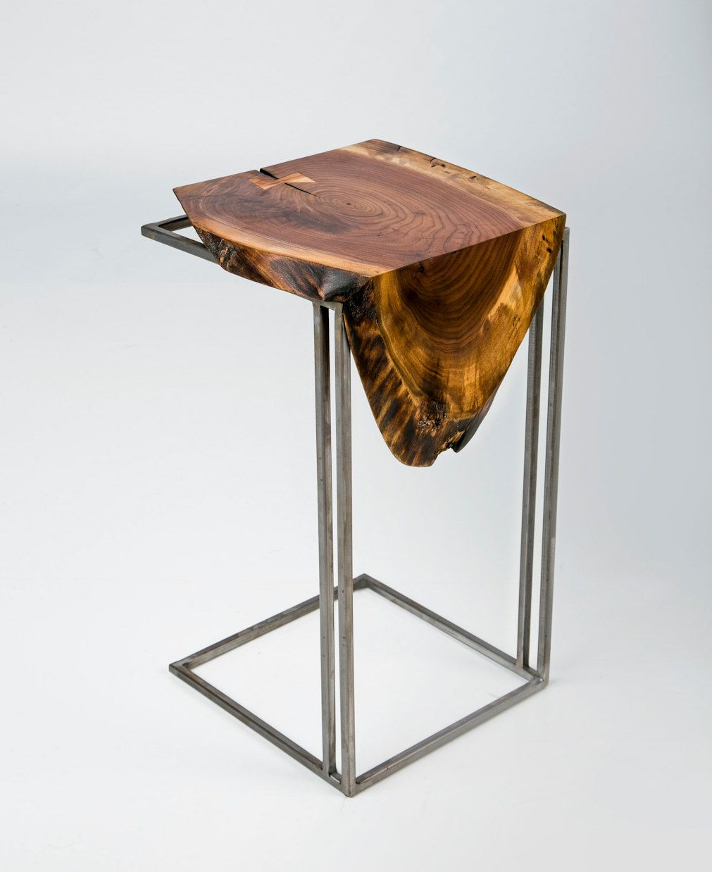 Furniture Legs Metal Contemporary c table - solid black walnut live edge top with metal base