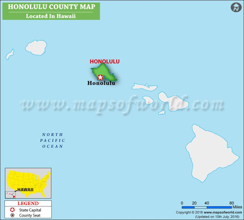 Honolulu County Map Hawaii