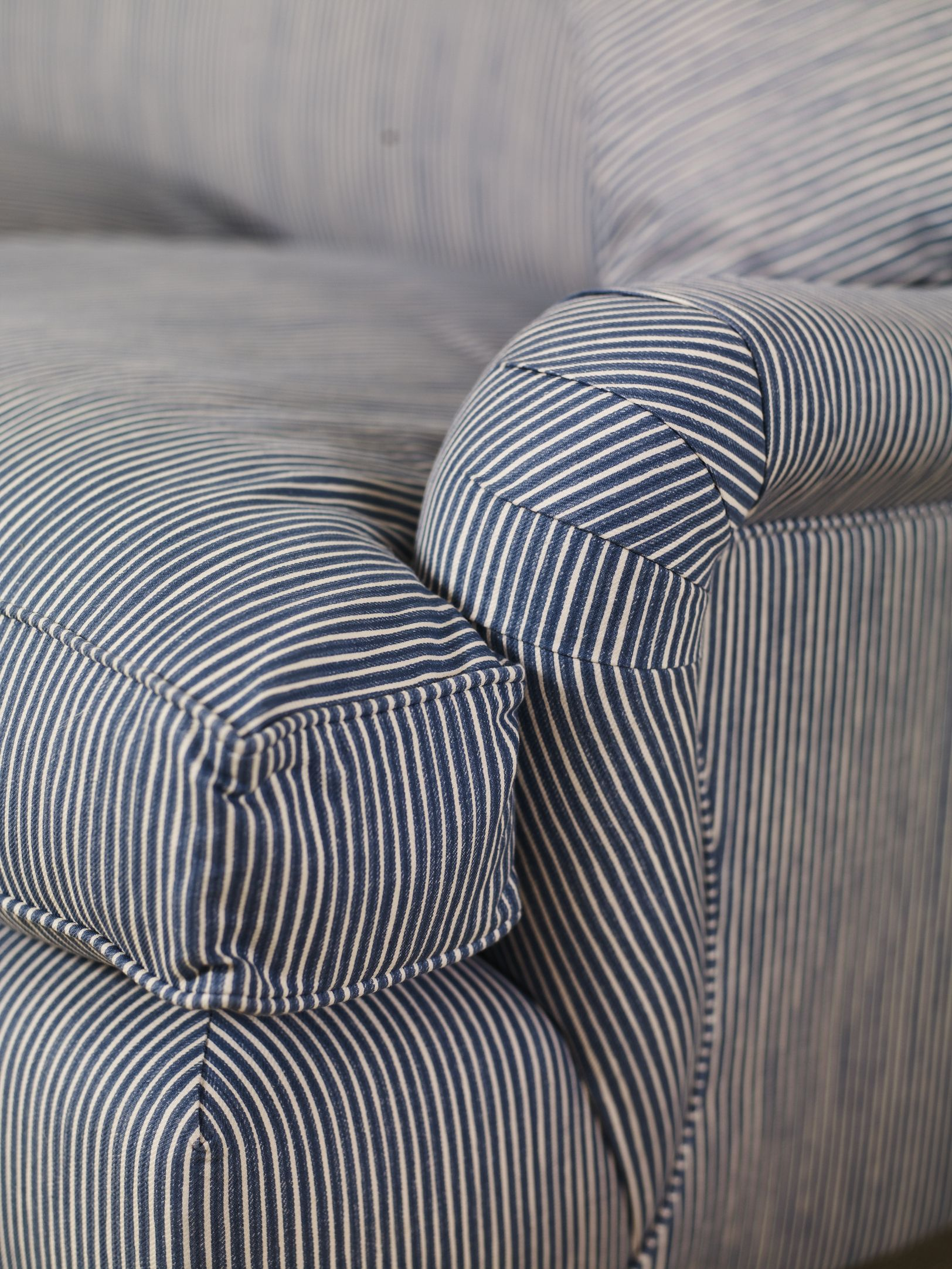 Fabrics For Chairs Striped Folding Chair Tesco Blue Stripe Roll Arm Our New English Cottage In 2019