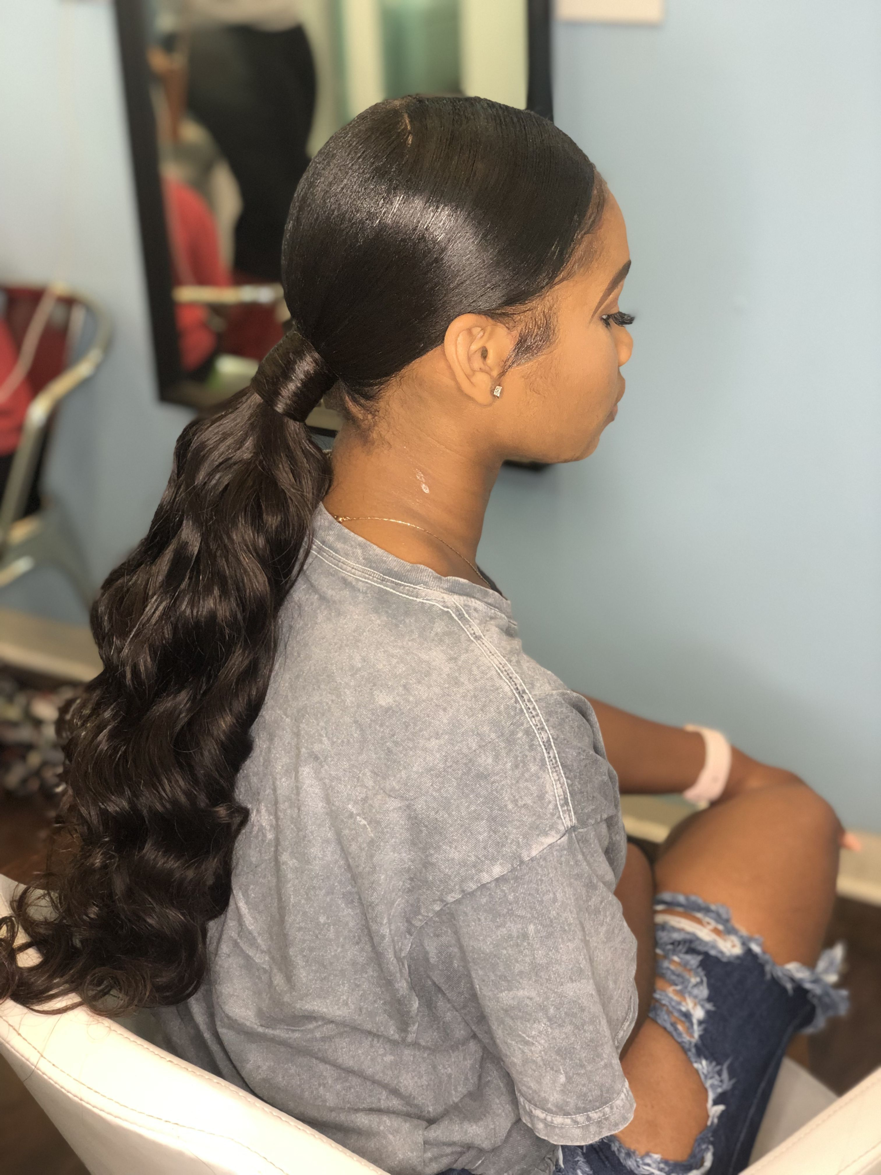 Middle Part Ponytail Ig Beerawcollection Hair Ponytail Styles Low Ponytail Hairstyles Long Ponytail Hairstyles
