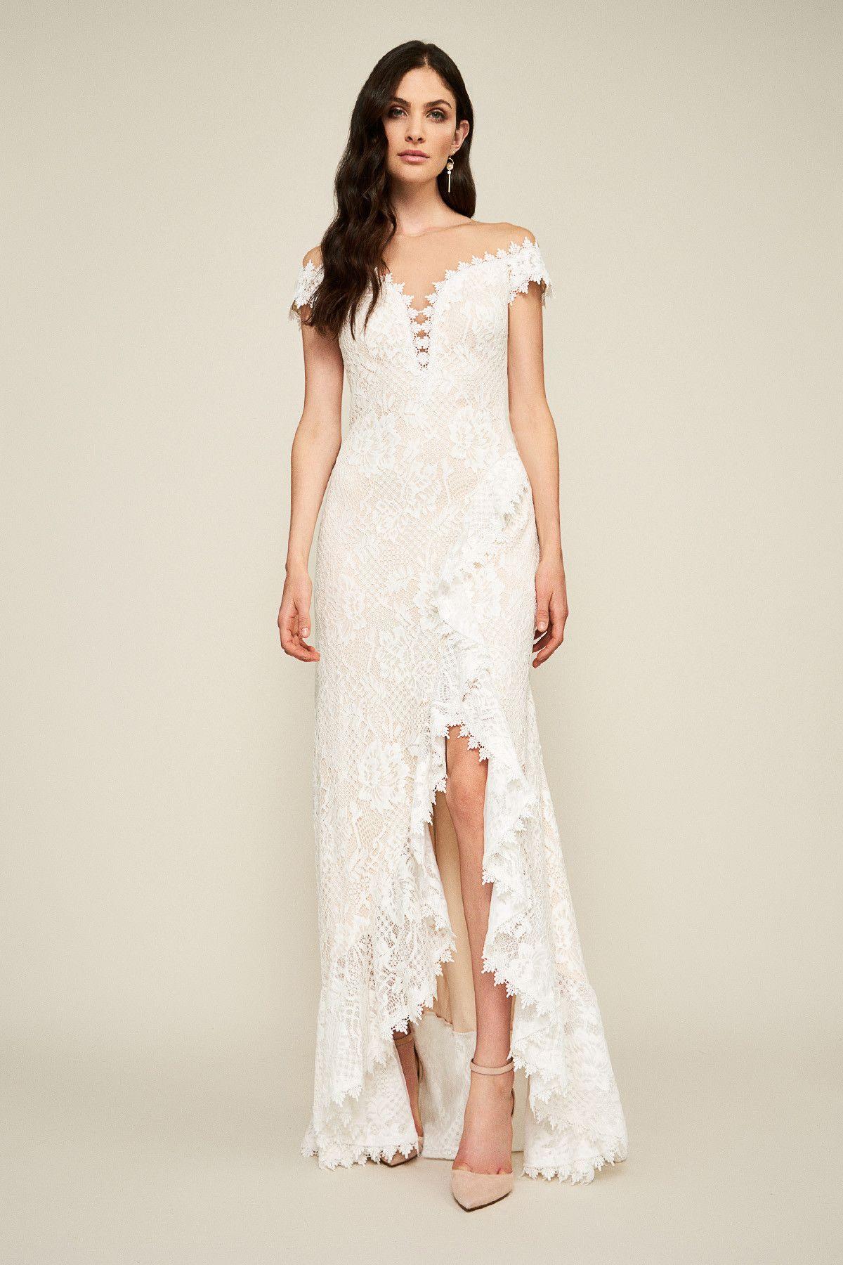 df24007384d Joliet Ruffle Slit Lace Gown