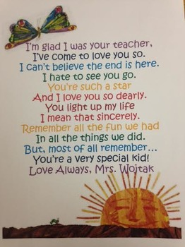 End of year poem *EDITABLE   Student teacher gifts ...