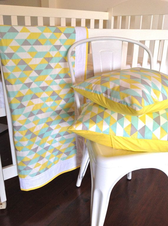 Geometric Baby Crib Quilt in grey yellow and door AlphabetMonkey