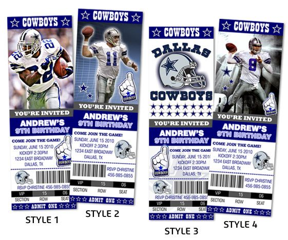 Greeting Cards Party Supply Dallas Cowboys Ticket Style Sports Party Invites Greeting Cards Invitations